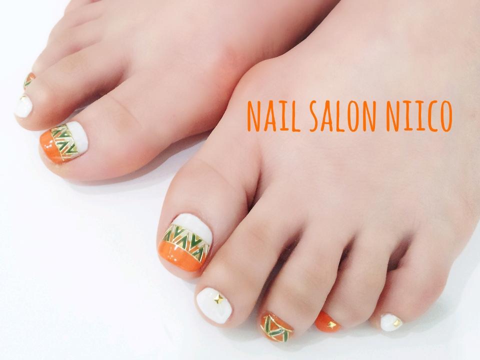 foot エスニック(オレンジ×ホワイト)
